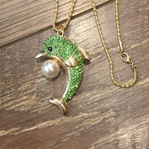 Lime green crystal dolphin pearl gold necklace